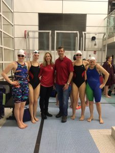 MHS Swim Team relay team with Coaches Zitz and Heller