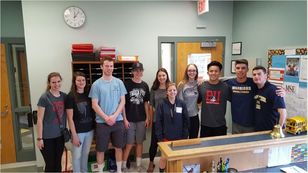 From left, former Collicot and Cunningham students Paige Purcell, Owen Keaney, James Long, Lauren Griswold, Hannah Franceschelli, Cat Stafford, Samson Yuan, Anthony Goncalves, Tim Looney