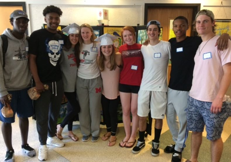 From left: Former Glover students Nikholas Romain, Nate Allen, Madison Jrolf, Lucy Crawford, Lulu Mackenzie, Lucia Hainline, Aiden Cullinane, Jakieh Blevins, Max Fitzgerald