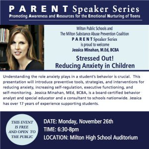 Jessica Minahan Med Bcba Speaks On >> November 15 2018 Milton Public Schools